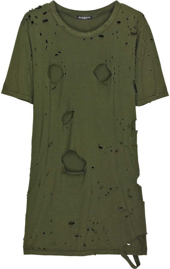 Balmain Slashed army t-shirt