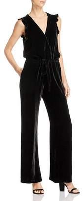 Bella Dahl Ruffled Velvet Wide-Leg Jumpsuit