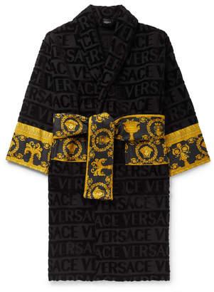 Versace (ヴェルサーチ) - Versace - Poplin-Panelled Logo-Jacquard Cotton-Terry Robe