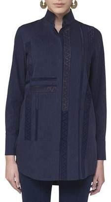 Akris Punto Lace-Trim Stand-Collar Blouse, Navy