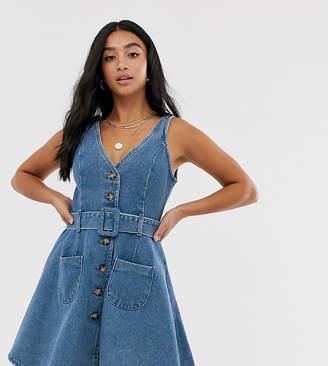 Asos DESIGN Petite denim skater button through dress with belt in blue