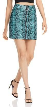Tiger Mist Tash Snake Print Faux-Leather Skirt
