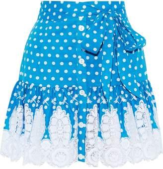 Miguelina Emy Crochet-trimmed Polka-dot Cotton Mini Skirt