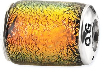 Prerogatives Sterling Orange Dichroic Glass Barrel Bead