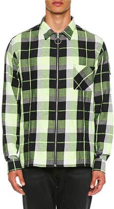 b13e51164d1c Off-White Men s Diagonal Zip Check Sport Shirt