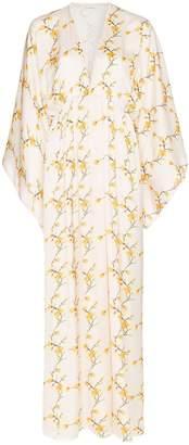 Celia Dragouni floral print pom pom trim dress