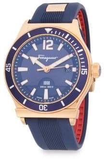 Salvatore Ferragamo Modern Stainless Steel and Rubber Strap Watch