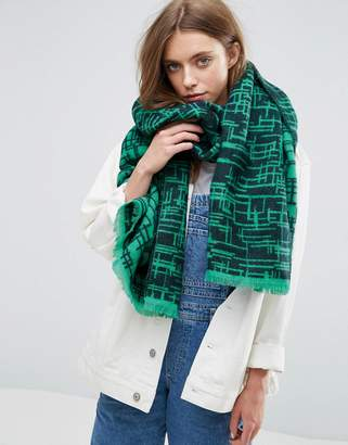 Asos Long Woven Scratchy Graphic Scarf