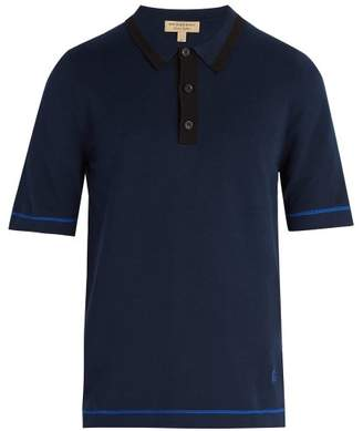 Burberry Contrast Knit Cotton Polo Shirt - Mens - Navy