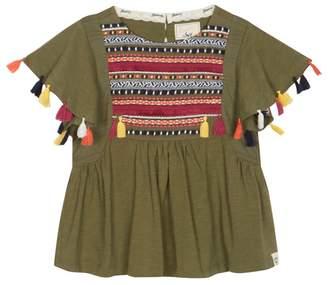 Mantaray 'Girls' Khaki Embroidered Panel Short Sleeve Top