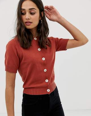 Asos DESIGN short sleeve fine knit cardigan with buttons