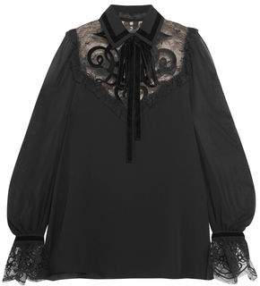 Elie Saab Pussy-Bow Point D'esprit-Paneled Chiffon Blouse