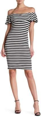 Velvet Torch Off-the-Shoulder Ruffle Dress