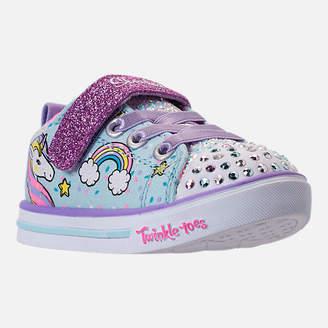 Skechers Girls' Toddler Twinkle Toes: Shuffles - Sparkle Lite Light-up Hook-and-Loop Casual Shoes