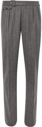 Ralph Lauren Purple Label Grey Gregory Pleated Pinstriped Wool Suit Trousers