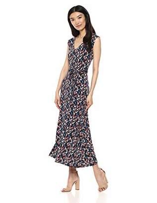 Chaus Women's S/L V-Neck Tie Waist Giraffe Dress