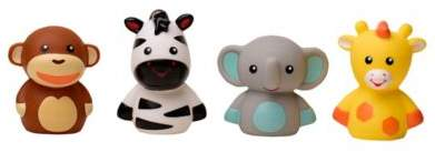 Bed Bath & Beyond 4-Piece Jungle Animal Bath Finger Puppet Set
