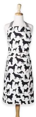 """Design Imports Dog Print Chef Kitchen Apron, 35""""x28"""", 100% Cotton, Black, White"""