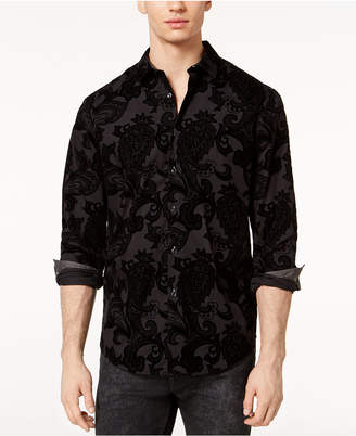 INC International Concepts I.n.c. Men's Flocked Paisley Shirt
