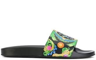 Versace printed logo flip flops