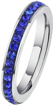 Aooaz Free Engraving Ring Wedding Bands For Womens CZ Crystal Wedding Band Set Eternity Size 5