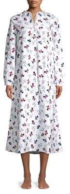 Lanz Split V-Neck Long-Sleeve Cotton Nightgown