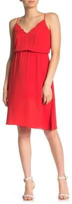 Socialite Scalloped V-Neck Midi Dress