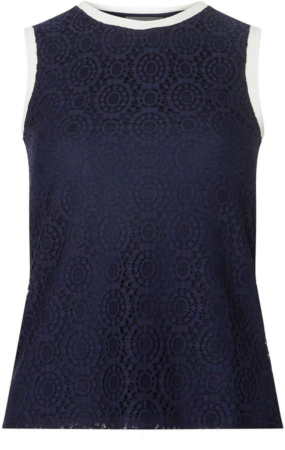 Petite Navy Lace Trim Shell Top