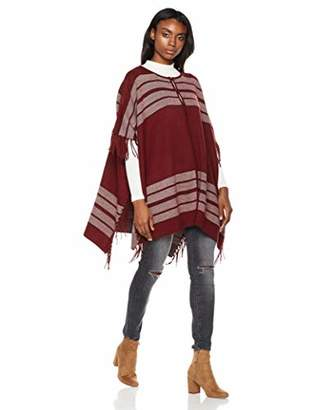 Fashionable Lofty and Scarf Style Women's Soft Acrylic Crewneck-Poncho with Tassels Cardigan Sweater