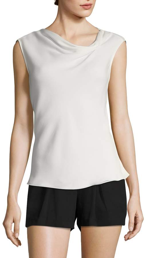 Armani Collezioni Women's Asymmetrical Neck Cotton Top