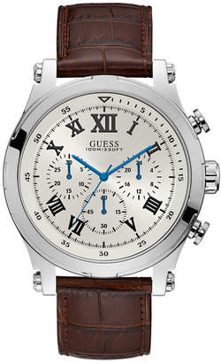 GUESS Men Chronograph Anchor Brown Leather Strap Watch 46.5mm