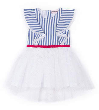 Little Lass Sleeveless Stripe Dot Dress - Baby Girls