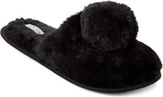 Ellen Tracy Faux Fur Pom-Pom Slippers