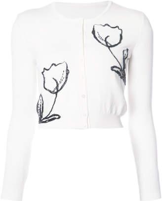 Oscar de la Renta beaded floral embroidered cardigan