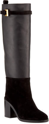 Stuart Weitzman Morrison Chic Leather/Suede Knee Boot