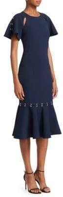 Jonathan Simkhai Hook& Eye Ruffle Midi Dress