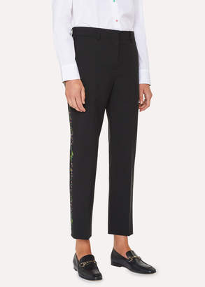 Paul Smith Women's Black Wool-Mohair Pants With 'Floral Stripe' Embroidery
