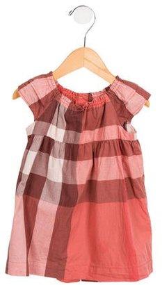 Burberry Girls' Nova Check Cap Sleeve Dress $85 thestylecure.com