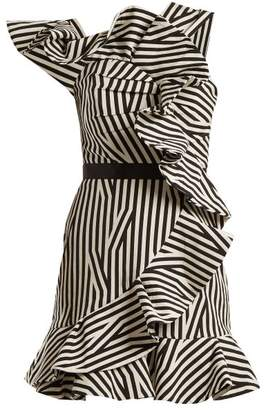 Self-Portrait One-shoulder striped dress