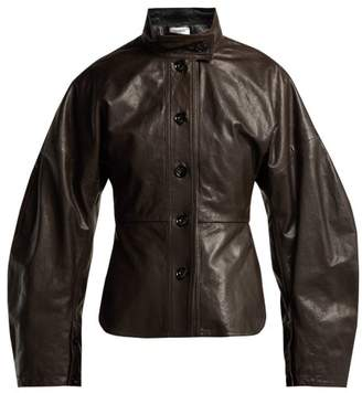 Lemaire Single Breasted Leather Jacket - Womens - Dark Brown