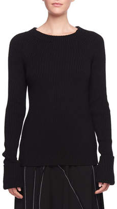 The Row Sabra Crewneck Ribbed Wool Sweater