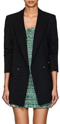 BLAZÉ MILANO Women's Everyday Leopard Jacquard Wool Double-Breasted Blazer - Black