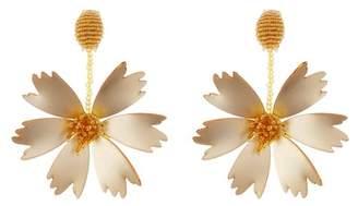 Oscar de la Renta Embroidered Carnation Earrings