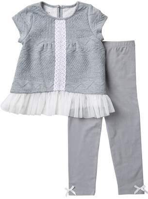 Pippa & Julie Knit & Lace Tunic & Leggings Set (Toddler Girls)