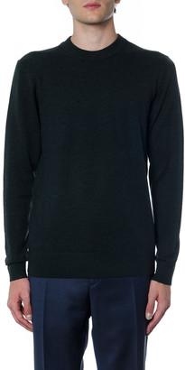 Calvin Klein Dark Green Sweatshirt In Wool And Cotton With Logo