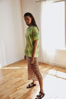 Urban Outfitters Rowan Leopard Print Satin Midi Skirt
