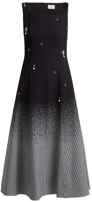 Erdem Polly Crystal Embellished Cotton Blend Dress - Womens - Black Multi