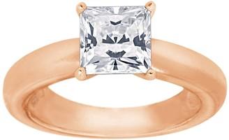 Diamonique 1.15cttw Princess-Cut Solitaire Ring, Sterling