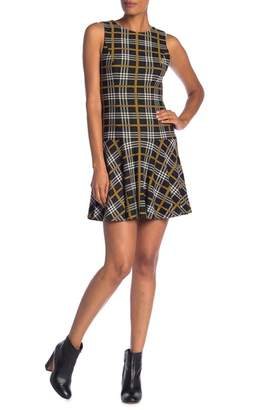 Alice + Olivia Fonda Plaid Ruffle Hem Crew Neck Dress