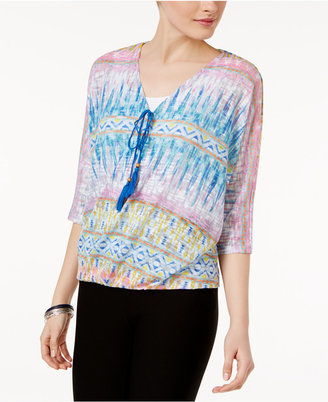 Jpr Printed Surplice Pointelle-Knit Top $50 thestylecure.com